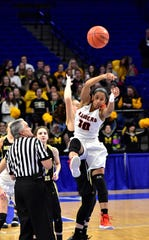 Ryle's Juliet McGregor controls the tip for the Lady Raiders in the opening round of action at the KHSAA Girls Sweet 16 at Rupp Arena, March 13, 2019.