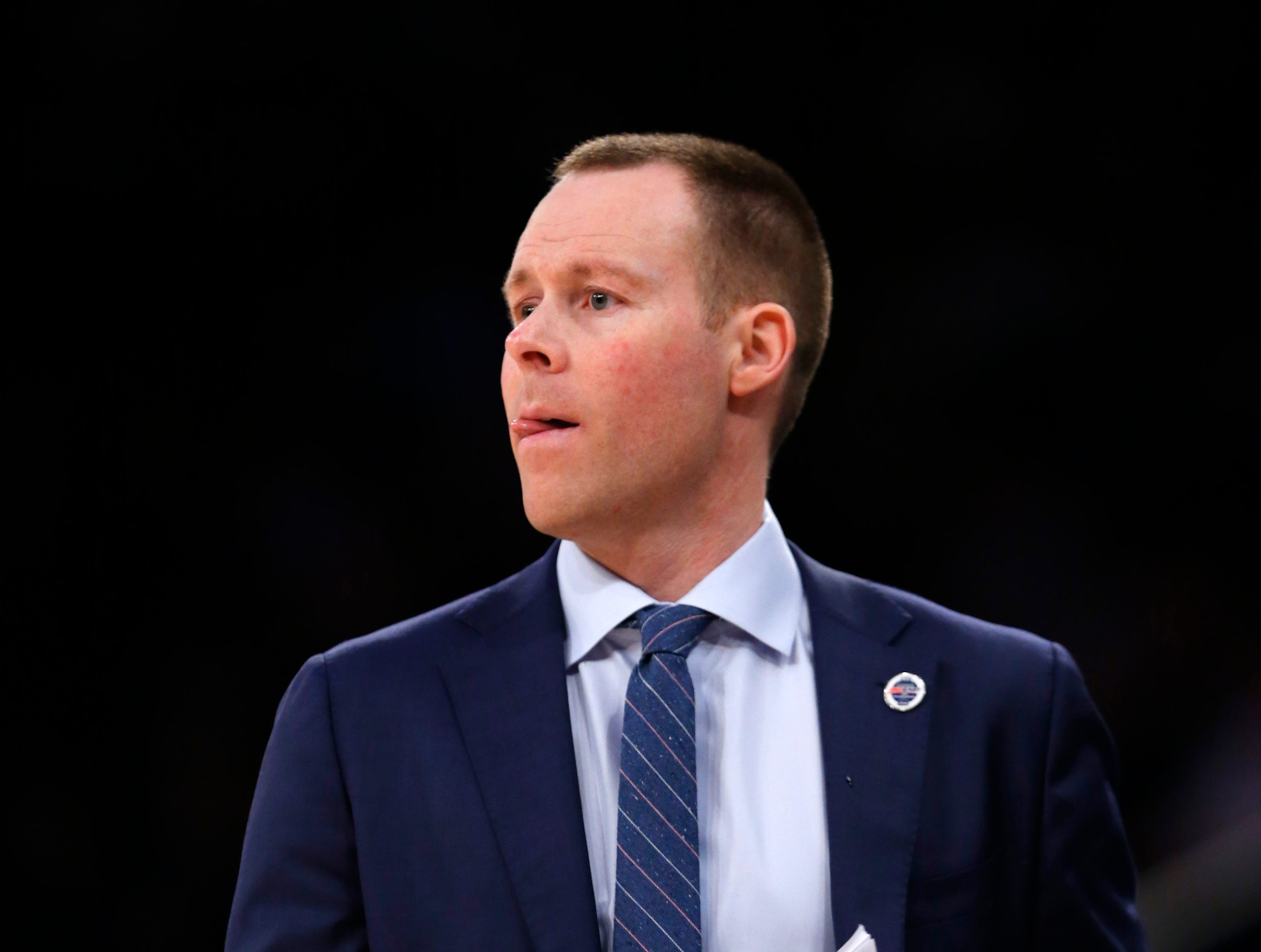 Xavier Musketeers head coach Travis Steele coaches against the Creighton Bluejays during the second half of a quarterfinal game of the Big East conference tournament at Madison Square Garden.