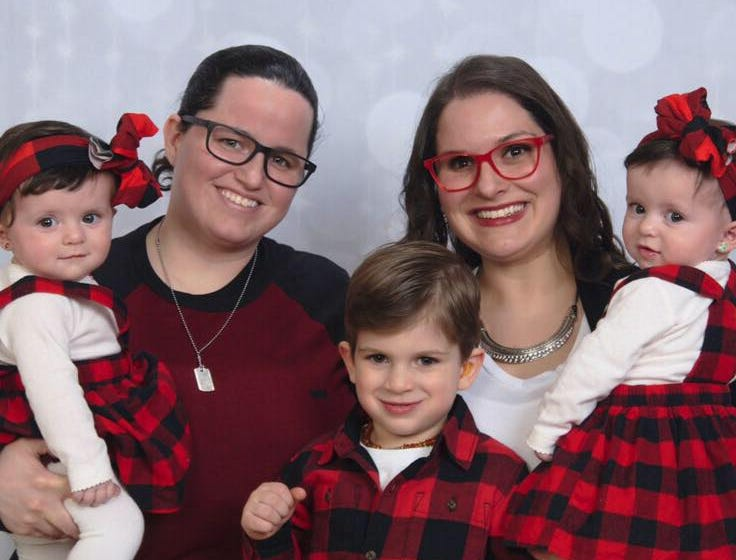 """The Pepin family - Katie, Everett, Autumn, Liz and Lorelai - of Sayreville has two of their three young children diagnosed with Retinoblastoma, a rare eye cancer. On March 23, Sayreville PBA Local #98 will host the """"Battle of the Borough"""" —abasketball gameto benefit the Pepins."""