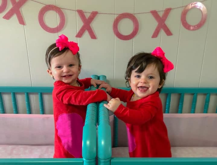 """The Pepin family of Sayreville has two of their three young children diagnosed with Retinoblastoma, a rare eye cancer. Eleven-month-old Lorelai (left) — here with twin sister Autumn — was diagnosed at sixmonths and just finished her last chemotherapytreatment on Feb. 28.On March 23, Sayreville PBA Local #98 will host the """"Battle of the Borough"""" —abasketball gameto benefit the Pepins."""