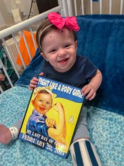 """The Pepin family of Sayreville has two of their three young children diagnosed with Retinoblastoma, a rare eye cancer. Eleven-month-old Rory — short for Lorelai — was diagnosed at sixmonths and just finished her last chemotherapytreatment on Feb. 28.On March 23, Sayreville PBA Local #98 will host the """"Battle of the Borough"""" —abasketball gameto benefit the Pepins."""