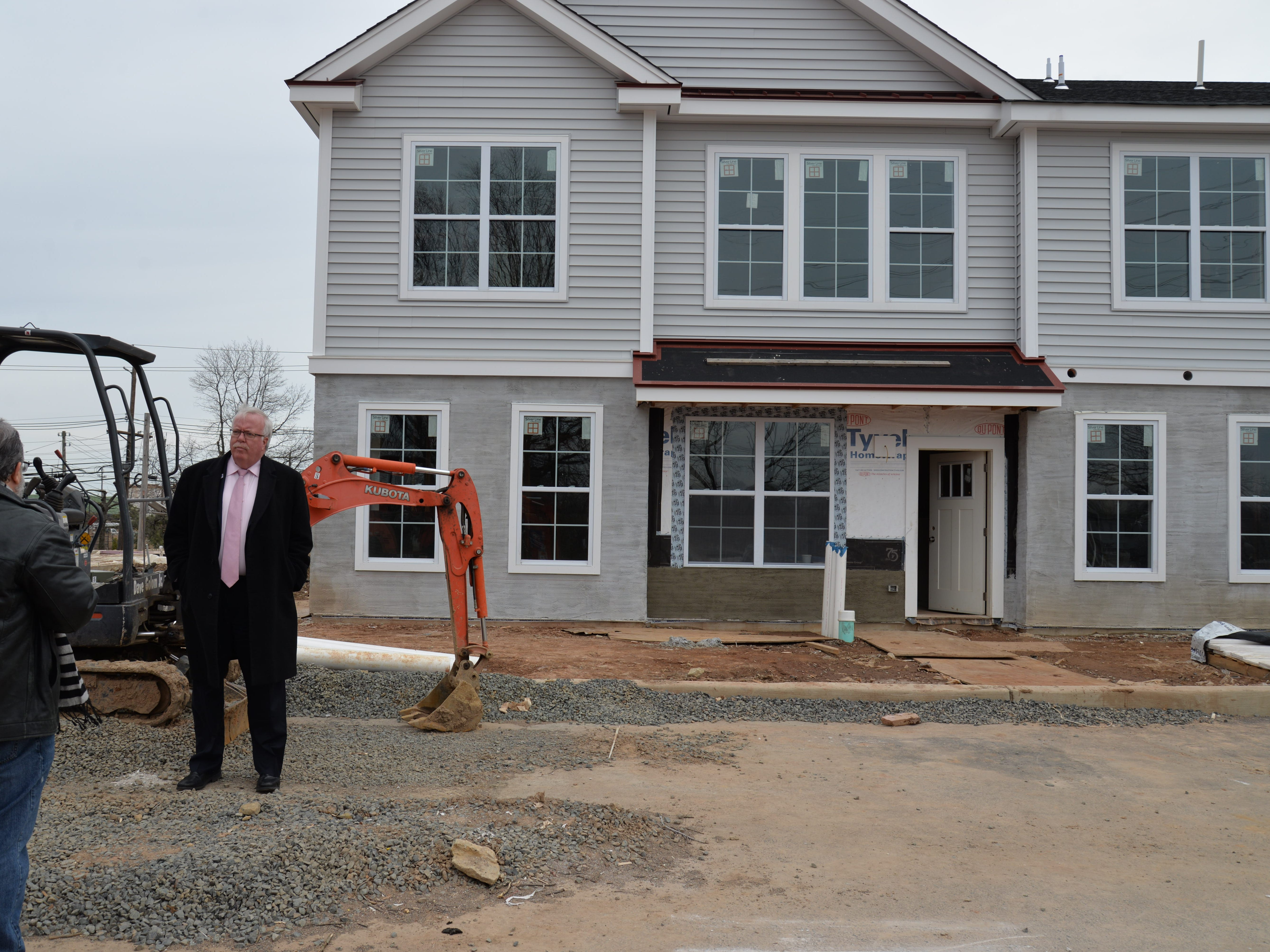 Woodbridge Mayor John McCormac chats with Reporter Bob Makin about one of many residential construction projects in the township. Developed by Falcon Properties, this is one is on a portion of the land that Hess formerly operated.