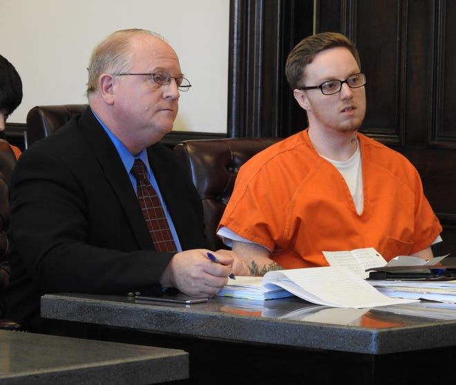 Attorney Jeffrey Mullen with Dakota Scott Parks in Coshocton Common Pleas Court. Parks received 60 months total in prison in two cases relating to drug trafficking and fleeing authorities.