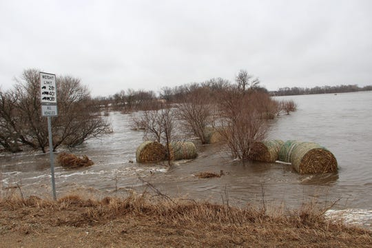 The West Fork Ditch floods near Hornick, a town of 200 people 30 miles southeast of Sioux City, in northwest Iowa on Thursday, March 14, 2019.