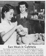 An image of two Drake University freshmen  working at the original Baker's Cafeteria location on University Avenue in 1951.