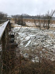 Ice jams push against the Trestle Trail Bridge, located north of Interstate 80 near Merle Hay Road in Johnston.