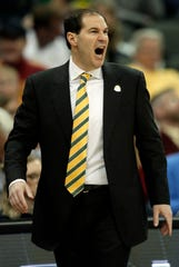 Baylor head coach Scott Drew yells to his team during the first half of an NCAA college basketball game against Iowa State in the quarterfinals of the Big 12 conference tournament in Kansas City, Mo., Thursday, March 14, 2019. (AP Photo/Orlin Wagner)