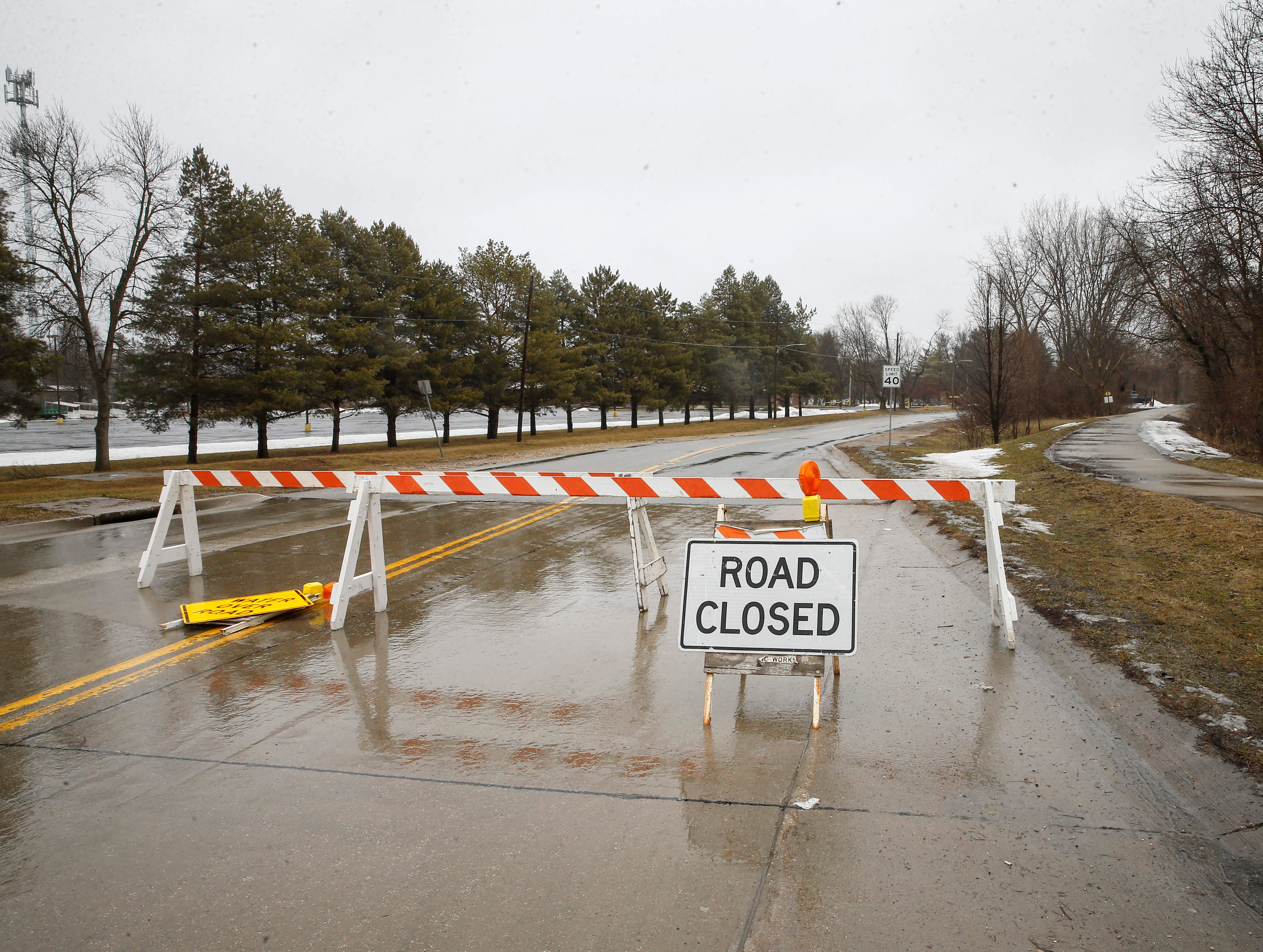 Portions of George Flagg Parkway in Des Moines were closed due to high water on Thursday, March 14, 2019.