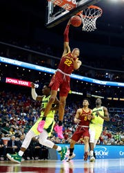 KANSAS CITY, MISSOURI - MARCH 14:  Tyrese Haliburton #22 of the Iowa State Cyclones scores on a fast break during the quarterfinal game of the Big 12 Basketball Tournament against the Baylor Bears at Sprint Center on March 14, 2019 in Kansas City, Missouri. (Photo by Jamie Squire/Getty Images)