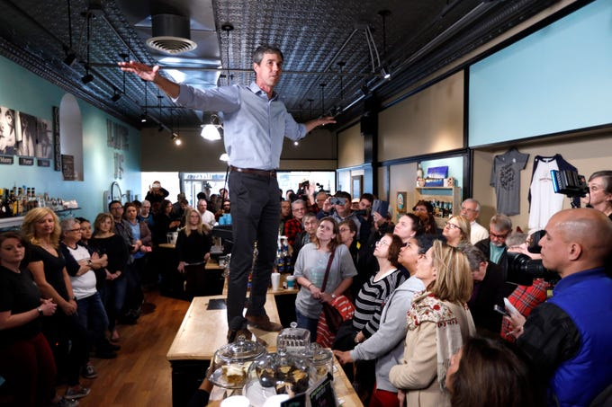 Former El Paso U.S. Rep. Beto O'Rourke speaks to residents during a meet-and-greet at the Beancounter Coffeehouse & Drinkery on Thursday, March 14, 2019, in Burlington, Iowa. O'Rourke announced Thursday that he'll seek the 2020 Democratic presidential nomination.