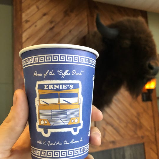 "The ""coffee drink"" will be served in a custom Ernie's Boondock paper cup, designed after the Anthora paper cup made famous by Greek coffee shops in New York City."