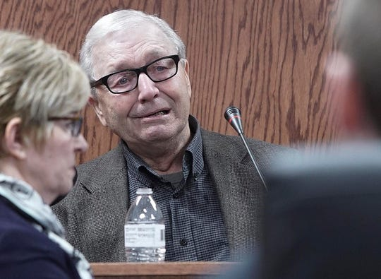 Bill Carter, 73, of Lacona, Iowa, testifies Thursday, March 14, 2019, during the murder trial of his son, Jason Carter, at the Pottawattamie County Courthouse in Council Bluffs. Jason Carter is accused of fatally shooting his mother, Shirley Carter, in 2015 at her home in rural Marion County.