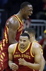 KANSAS CITY, MISSOURI - MARCH 14:  Cameron Lard #2 of the Iowa State Cyclones celebrates with Talen Horton-Tucker #11 after a basket during the quarterfinal game of the Big 12 Basketball Tournament against the Baylor Bears at Sprint Center on March 14, 2019 in Kansas City, Missouri. (Photo by Jamie Squire/Getty Images)