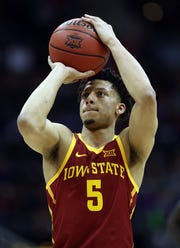 KANSAS CITY, MISSOURI - MARCH 14:  Lindell Wigginton #5 of the Iowa State Cyclones shoots a free throw during the quarterfinal game of the Big 12 Basketball Tournament against the Baylor Bears at Sprint Center on March 14, 2019 in Kansas City, Missouri. (Photo by Jamie Squire/Getty Images)