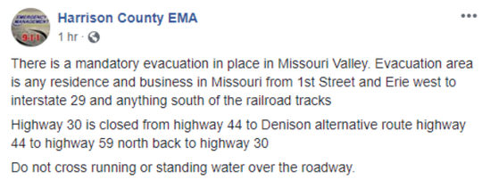 An evacuation notice for Missouri Valley posted on Facebook on Wednesday March 13, 2019.