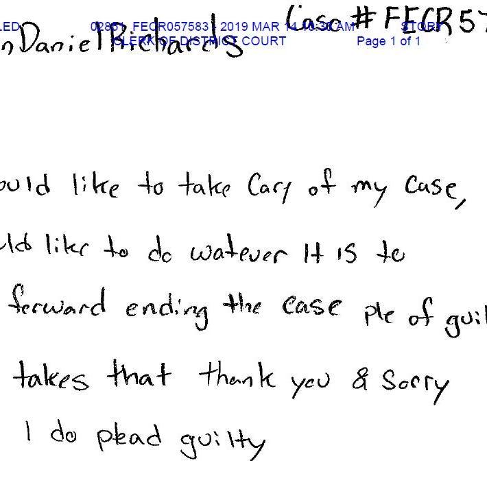 Collin Richards writes letter expressing desire to plead guilty in killing of Celia Barquín Arozamena