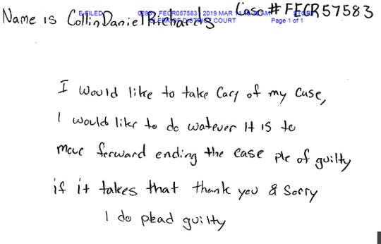 A handwritten letter to Story County District Judge Bethany Currie says Collin Richards wants to plead guilty in the death of Celia Barquin Arozamena.
