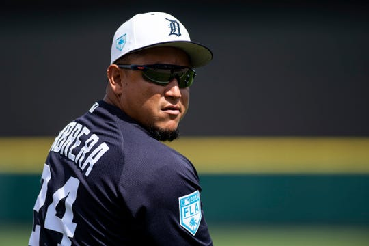 Detroit Tigers infielder Miguel Cabrera prior to the game against the Boston Red Sox at Joker Marchant Stadium, March 14, 2019 in Lakeland, Fla.