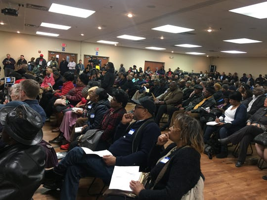 Hundreds of people attended a sometimes raucous meeting in Detroit on Wednesday, March 13, to discuss the planned Jeep plant project at Mack and St. Jean on Detroit's east side.