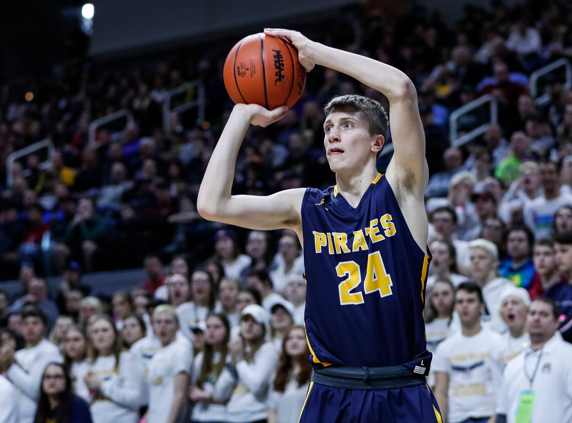 Pewamo-Westphalia's Keegan Smith (24) attempts for a 3-point shot against Erie-Mason during the first half of MHSAA Division 3 semifinal at the Breslin Center in East Lansing, Thursday, March 14, 2019.