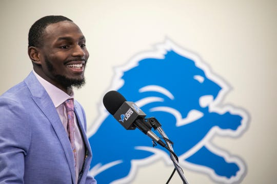 New Lions cornerback Justin Coleman speaks to the media Thursday, March 14, 2019 at the practice facility in Allen Park.