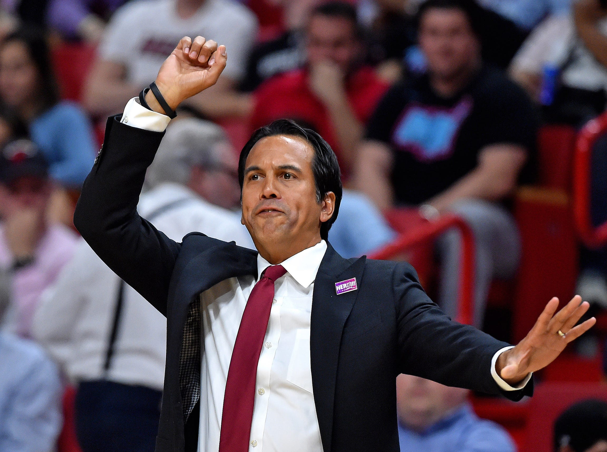Miami Heat head coach Erik Spoelstra reacts on the sidelines against the Detroit Pistons during the first half at American Airlines Arena on March 13, 2019.