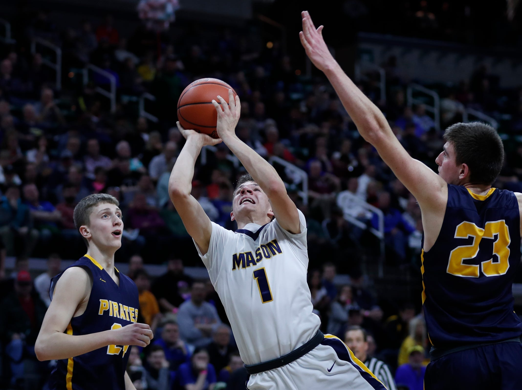 Erie-Mason's Joe Liedel (1) makes a layup against Pewamo-Westphalia during the second half of MHSAA Division 3 semifinal at the Breslin Center in East Lansing, Thursday, March 14, 2019.