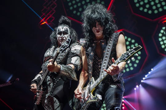 Gene Simmons and Paul Stanley of Kiss perform on the End of the Road World Tour at Little Caesars Arena in Detroit, Wednesday, March 13, 2019.