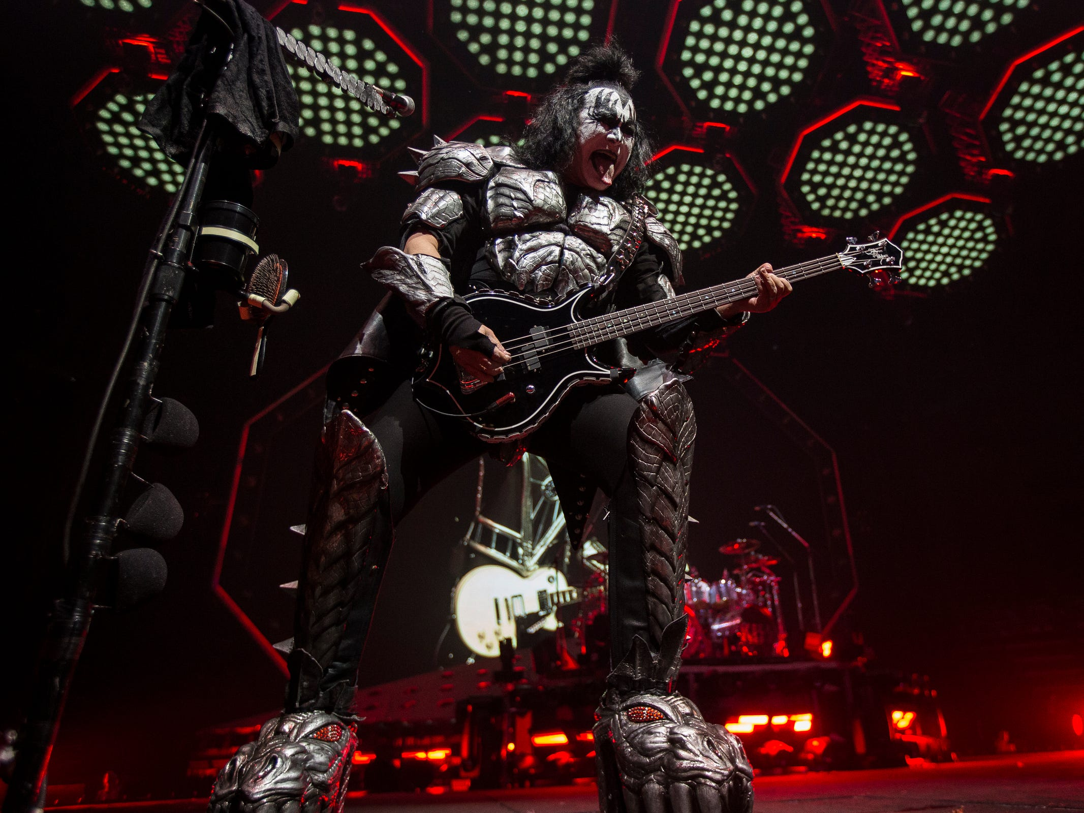 KISS' Gene Simmons performs their End of The Road world tour at the Little Caesars Arena in Detroit, Wednesday, March 13, 2019.
