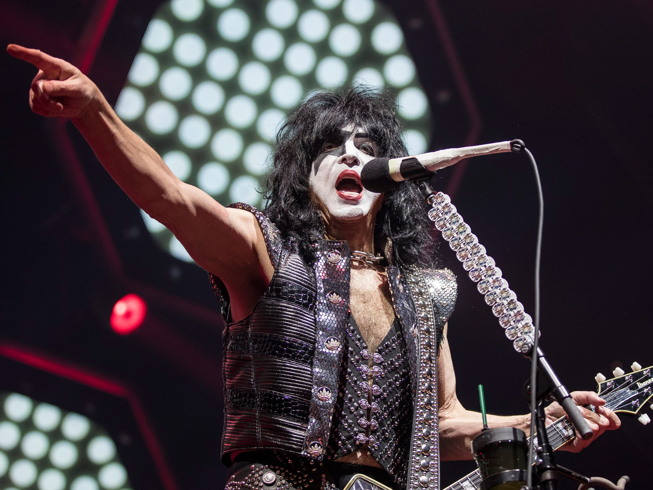 KISS performs their End of The Road world tour at the Little Caesars Arena in Detroit, Wednesday, March 13, 2019.