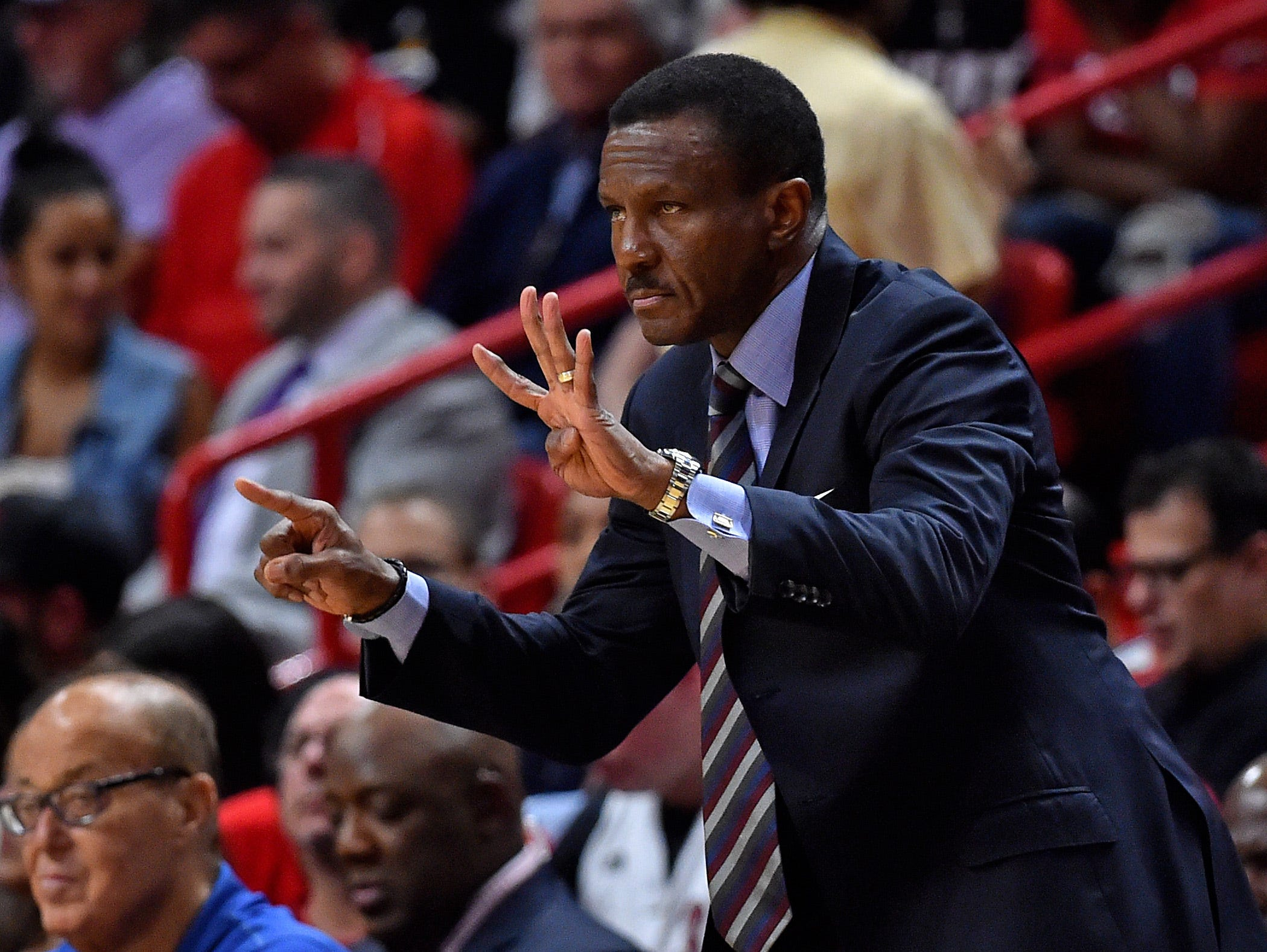 Detroit Pistons head coach Dwane Casey reacts from the sidelines against the Miami Heat during the first half at American Airlines Arena on March 13, 2019.