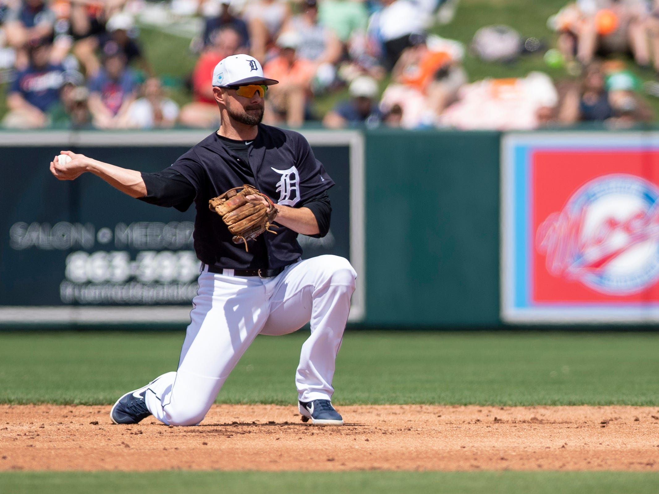 Detroit Tigers infielder Jordy Mercer fields during the third inning against the Boston Red Sox at Joker Marchant Stadium in Lakeland, Fla. on March 14, 2019.