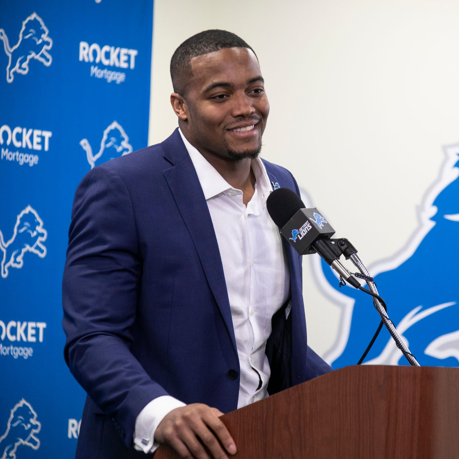 New Lions defensive end Trey Flowers speaks to...
