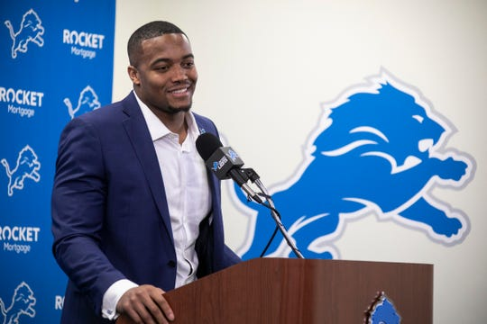 New Lions defensive end Trey Flowers speaks to the media Thursday, March 14, 2019 at the practice facility in Allen Park.