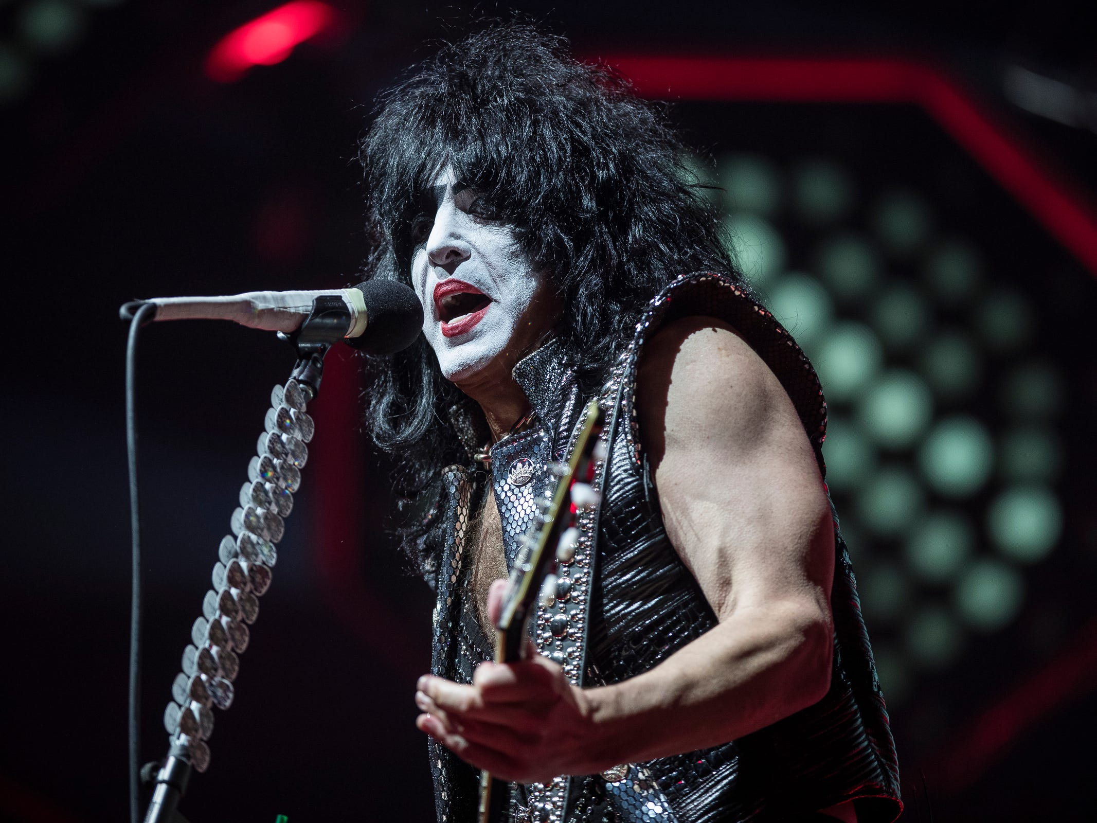 KISS' Paul Stanley performs their End of The Road world tour at the Little Caesars Arena in Detroit, Wednesday, March 13, 2019.