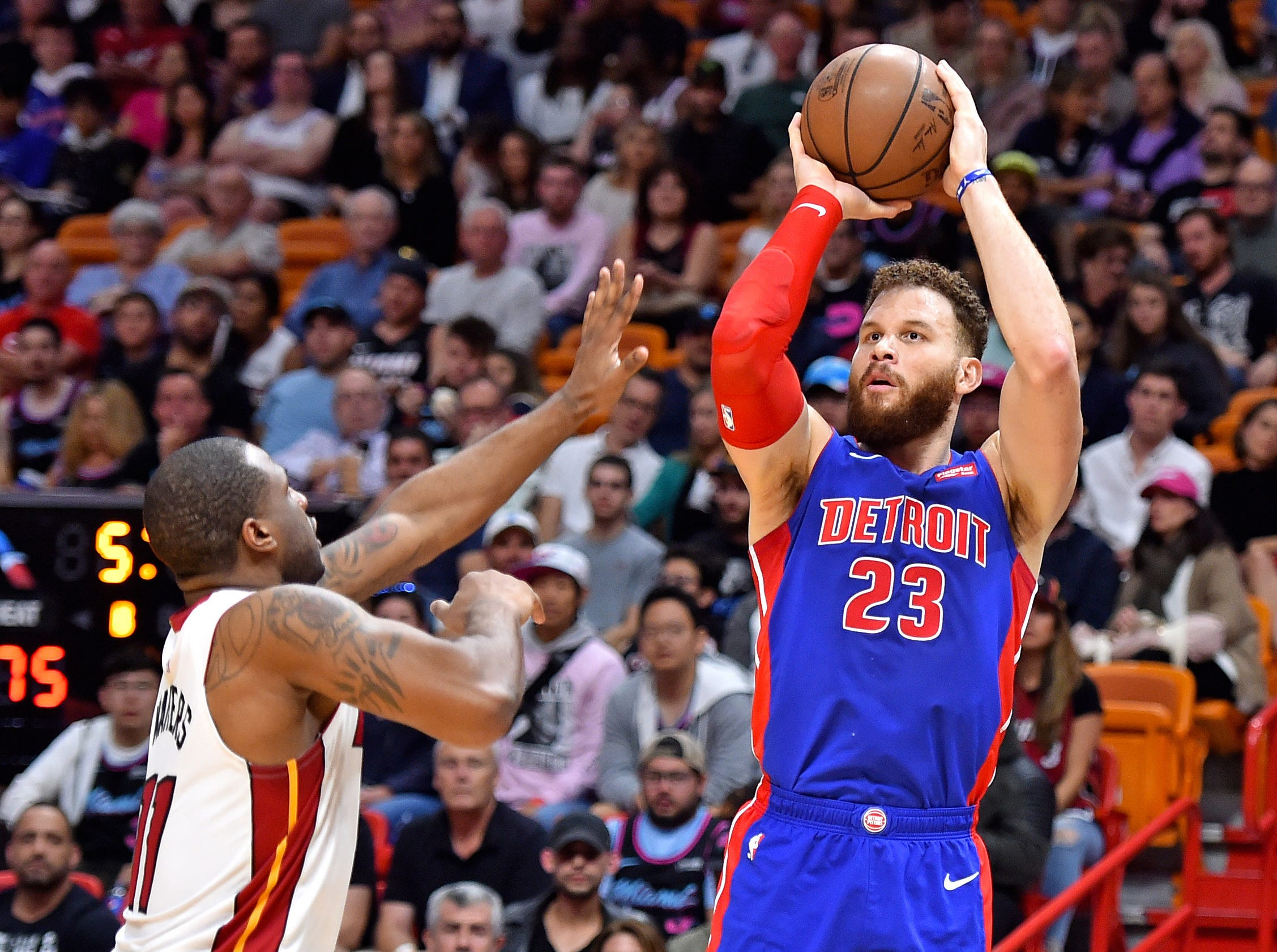 Detroit Pistons forward Blake Griffin (23) shoots over Miami Heat guard Dion Waiters (11) during the second half at American Airlines Arena on Wednesday, March 13, 2019.