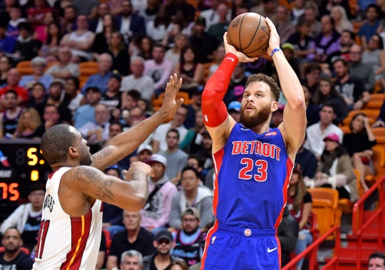 Blake Griffin takes a shot against the Heat on March 13.