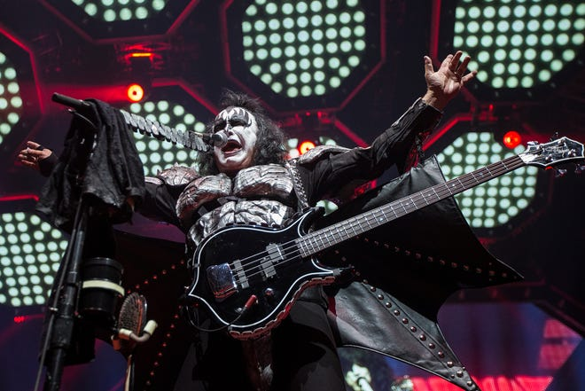 Gene Simmons of Kiss at the bands End of the Road tour stop at Little Caesars Arena in Detroit on March 13, 2019.