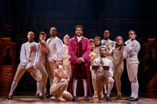 """Hamilton,"" notable for its color-conscious casting of non-white actors as America's founders and for Lin-Manuel Miranda's hip-hop score seasoned lightly with pop, soul and traditional show tunes, turned Broadway's world upside down after its opening in the summer of 2015."