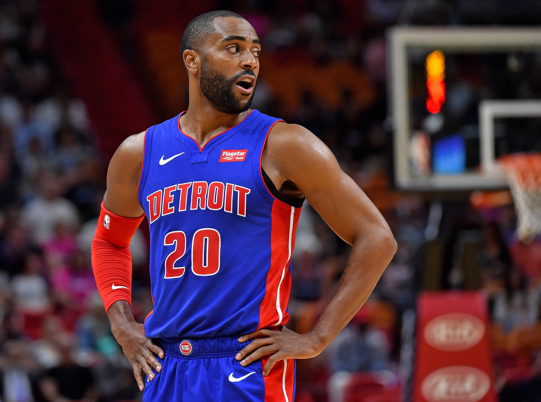Detroit Pistons guard Wayne Ellington (20) looks on from the court during the first half against the Miami Heat at American Airlines Arena on March 13, 2019.