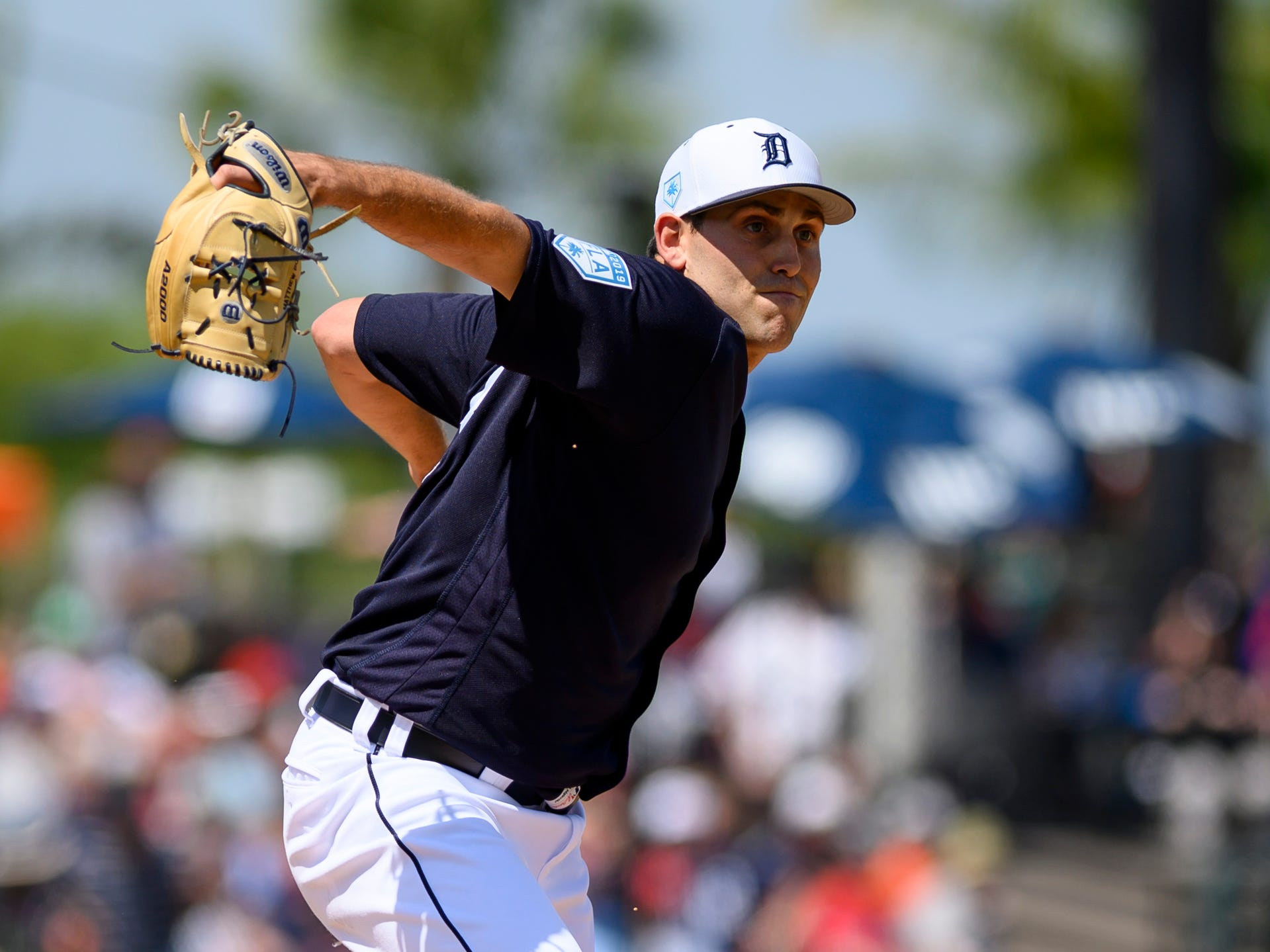 Detroit Tigers pitcher Matthew Boyd throws to first base during the fifth inning against the Boston Red Sox at Joker Marchant Stadium in Lakeland, Fla. on March 14, 2019.