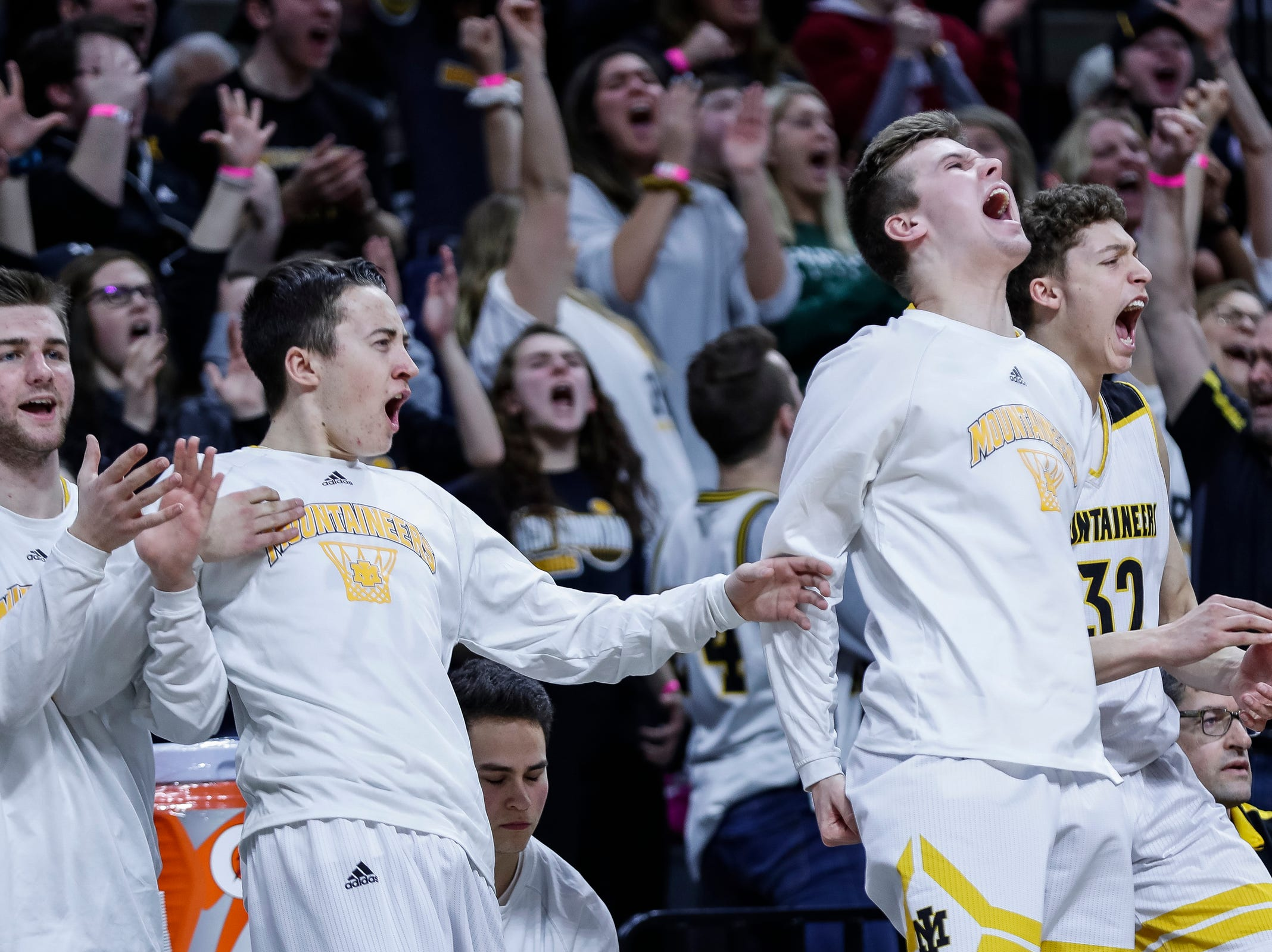 Iron Mountain's bench reacts during the second half of the MHSAA Division 3 semifinal against Detroit Edison at Breslin Center in East Lansing, Thursday, March 14, 2019.