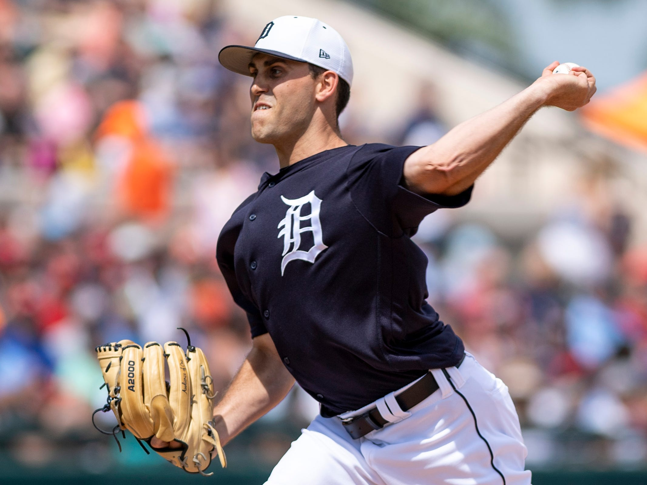 Detroit Tigers pitcher Matthew Boyd throws a pitch during the third inning against the Boston Red Sox at Joker Marchant Stadium in Lakeland, Fla. on March 14, 2019.