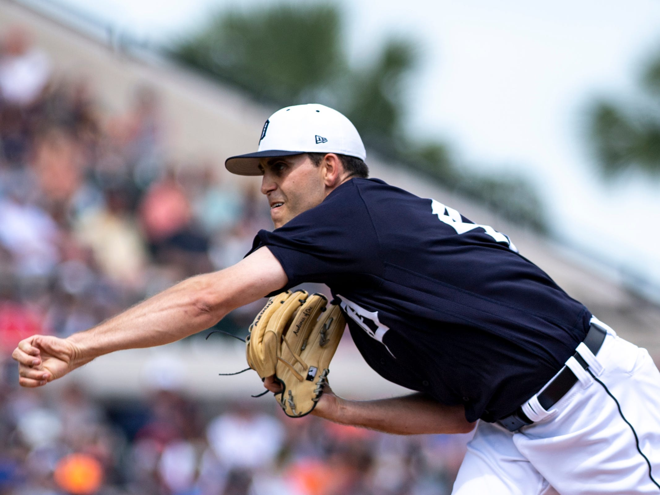 Detroit Tigers pitcher Matthew Boyd throws a pitch during the first inning against the Boston Red Sox at Joker Marchant Stadium, March 14, 2019 in Lakeland, Fla.