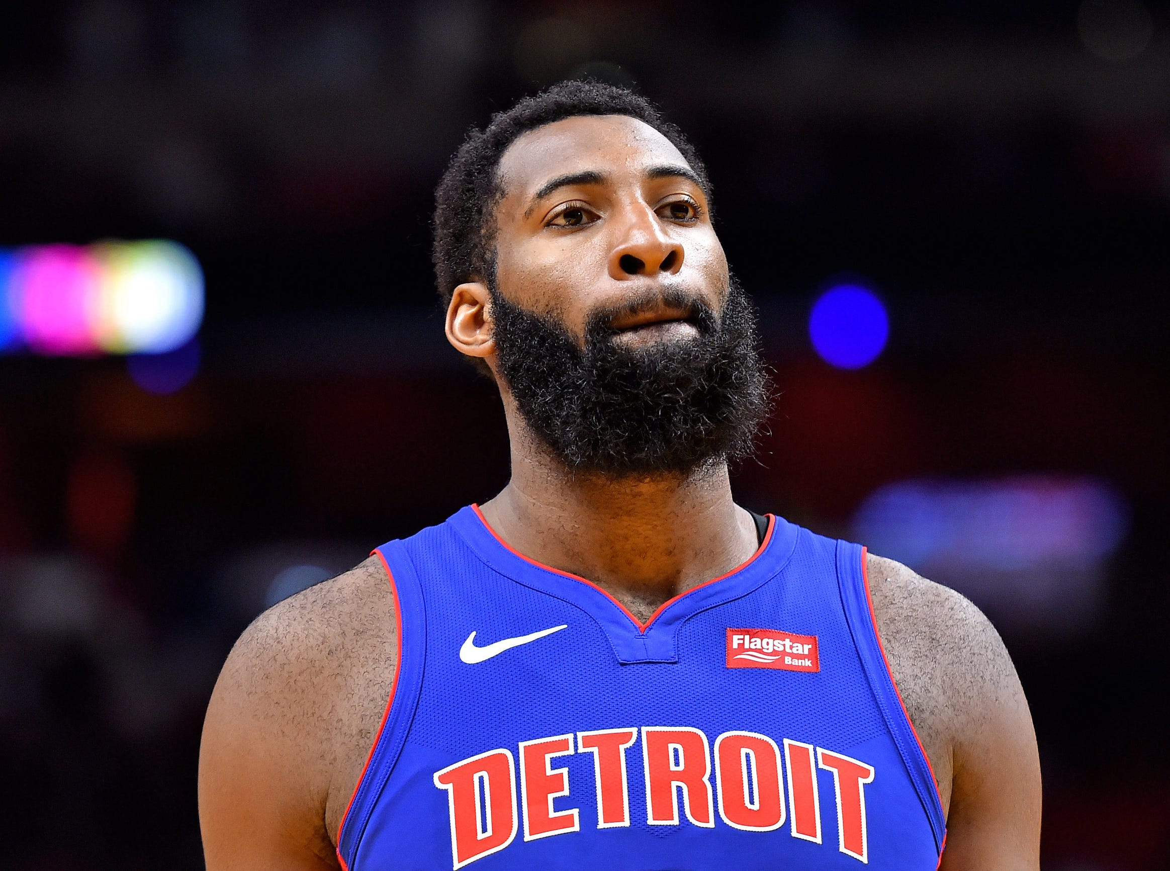 Detroit Pistons center Andre Drummond (0) takes a breather against the Miami Heat during the second half at American Airlines Arena on Wednesday, March 13, 2019.