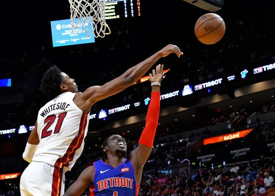 Heat center Hassan Whiteside blocks Reggie Jackson's shot during the second half Wednesday in Miami.
