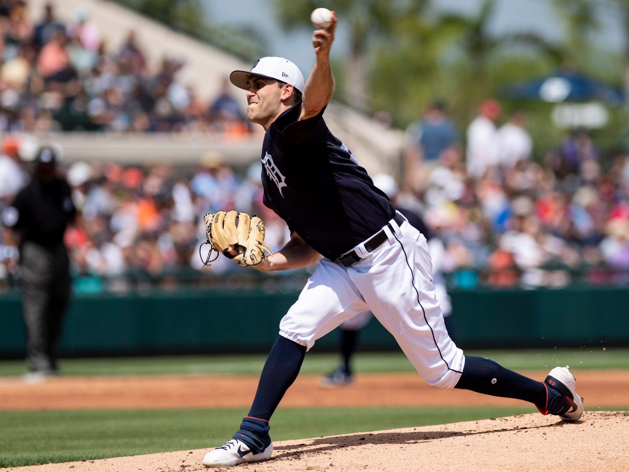 Detroit Tigers pitcher Matthew Boyd throws a pitch during the second inning against the Boston Red Sox at Joker Marchant Stadium, March 14, 2019 in Lakeland, Fla.