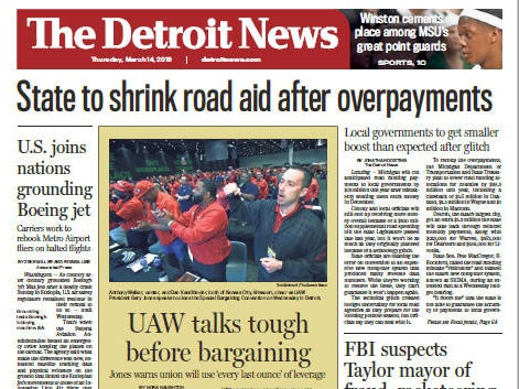 Front page of The Detroit News on Thursday, March 14, 2019.