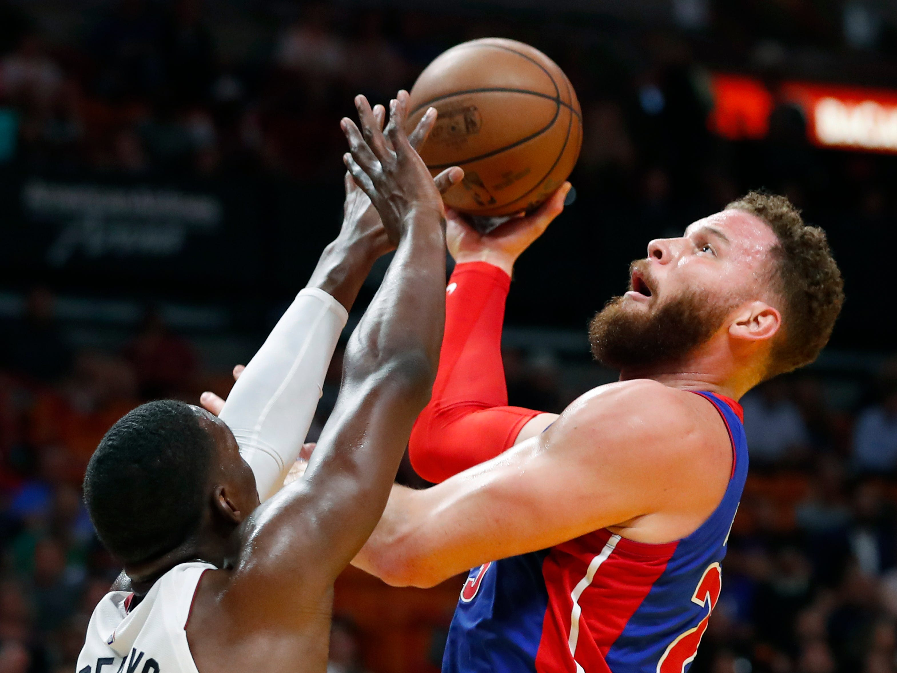 Detroit Pistons forward Blake Griffin (23) shoots against Miami Heat center Bam Adebayo (13) during the first half.