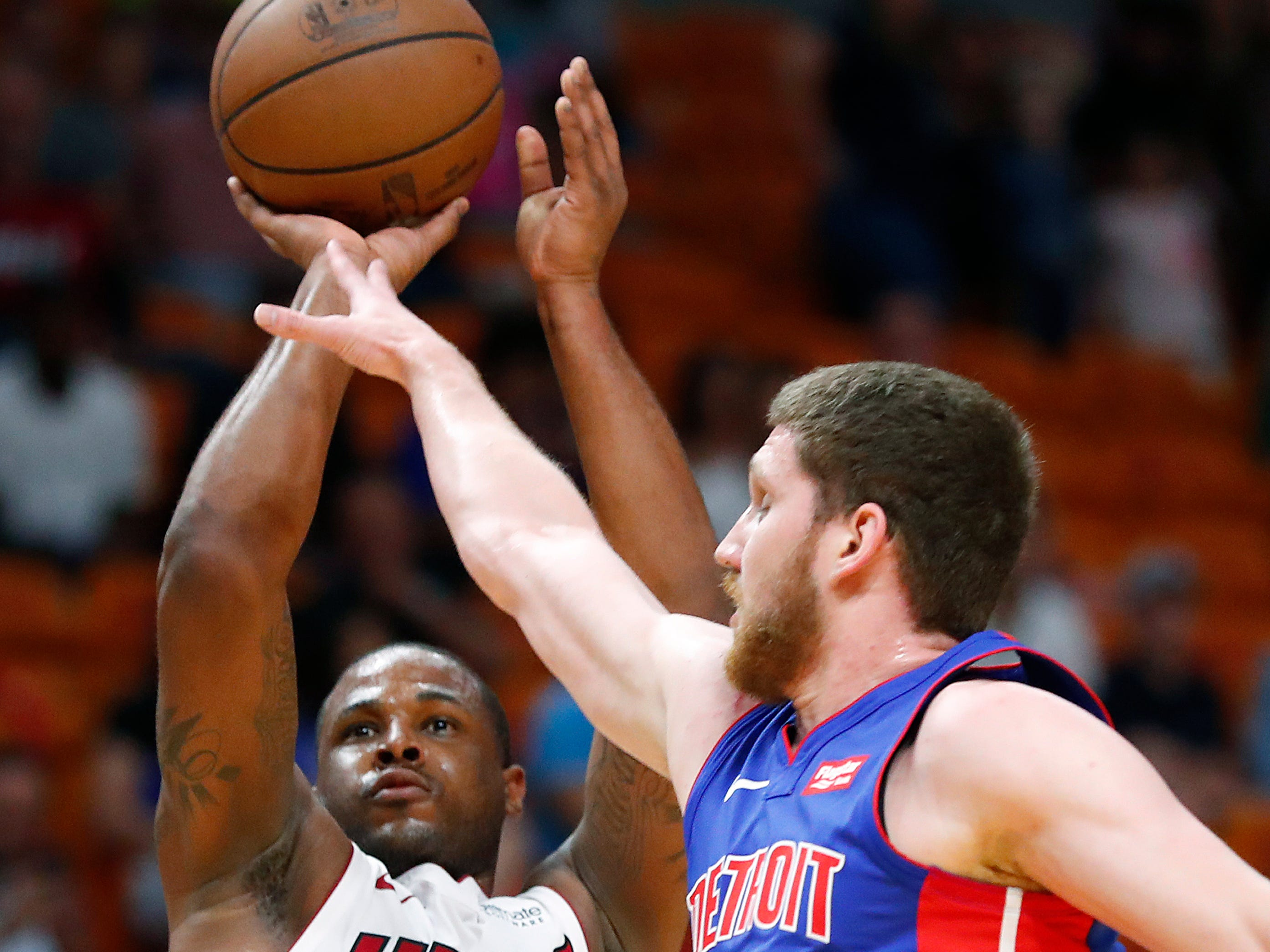 Miami Heat guard Dion Waiters (11) shoots against Detroit Pistons guard Sviatoslav Mykhailiuk (19) during the second half.